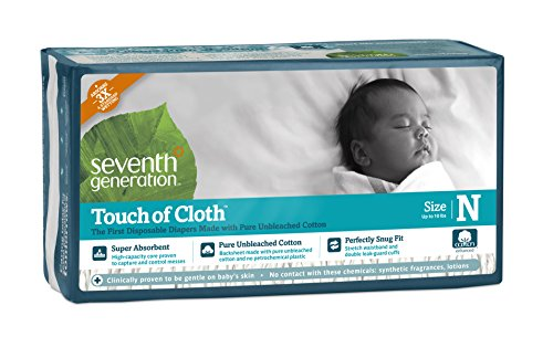 Seventh Generation Touch of Cloth Diapers for Newborn, 72 Count