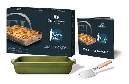 Emile Henry 879105 Gift Box for Lasagne 1 x Dish Rectangular Olive-Coloured 42.5 x 28 cm 1 x Spatula and 1 x Recipe...