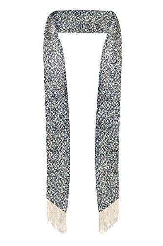 Sash Scarf (Skinny scarf - Scarf tie - Sash tie - Summer scarf - with fringe (Teal and Beige (Vintage,)