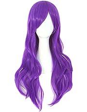 MapofBeauty 70cm/ 28 pulgada largo rizo seorita rizo anime traje Pelucas (púrpura)