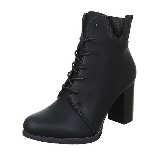 Ital-Design Damen Schuhe Schnürer Combat Boots Schnürsenkel Schnürboots Stiefeletten Blockabsatz Schwarz