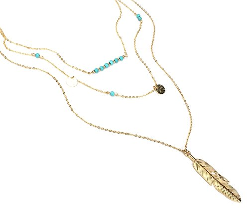 KISSPAT Women's Gold Tone Bohemia MultiLayer Necklace With Turquoise Beads and Feather Pendant