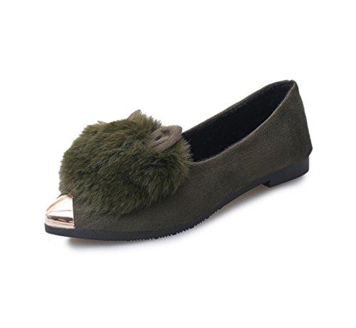 Womens Pumps Magone Green Faux Low Fur Heel fqHgwOd
