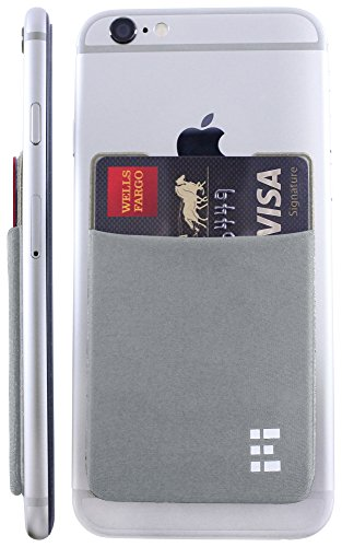 Credit Card Holder Stick On Wallet Case w/RFID Blocking (Silver) ()
