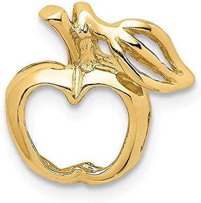14K Yellow Gold Polished Cut-out Apple Chain Slide Pendant