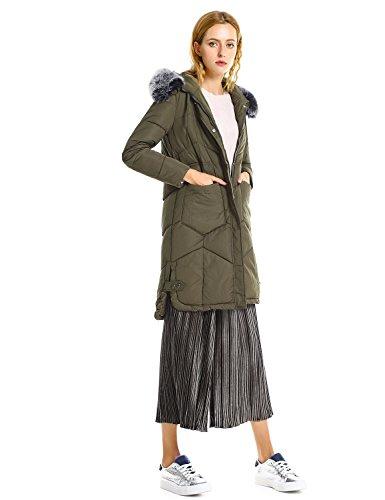 ZAN.STYLE Women's Coats,Parka Faux Fur Hooded Jacket Cotton Padded Jacket Coat Army Green