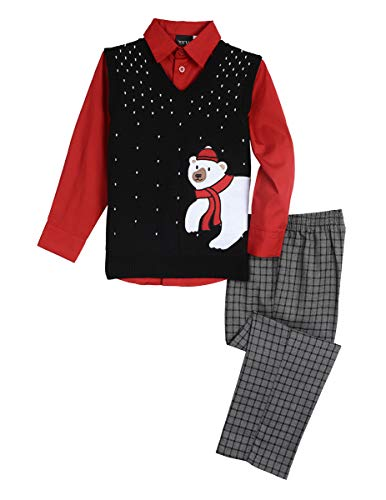 TFW Dresswear Little Boys' Sweater Vest Set, Polar Bear Black, 2