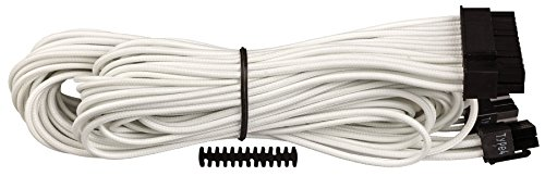 Corsair CP-8920160 Premium Individually Sleeved ATX 24-pin Cable, White, for Corsair PSUs