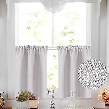 Amazon Com Caromio Grey Tier Curtains For Kitchen Waffle