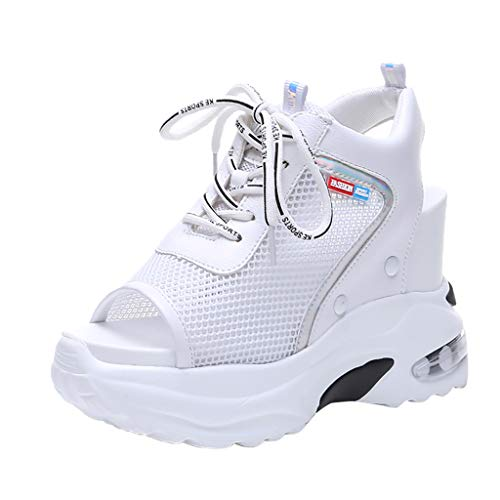 Chenout Grid Sponge Cake Thick Bottom Wedge Cross-Tied Shoes Fashion Sandals Female Summer Casual Sneakers White