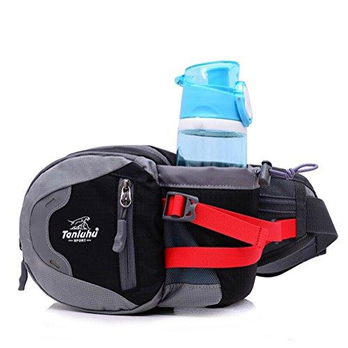 OrrinSports Women's 70% High-density Waterproof Polyester 30% High Density 600D 3 Zippers Sports Fanny Pack with Bottle Holder Black
