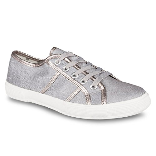 Twisted Womens ALLEY Glitter Canvas Fashion Sneaker – GREY, Size 10