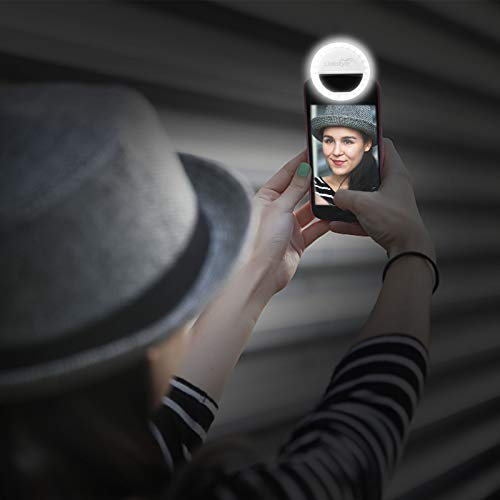 Selfie Ring Light Rechargeable, 36 LED Dimmable Clip on Selfie Light Portable for iPhone iPad Android Camera Phtography Video Make up White (1 Pack) by LinkStyle (Image #6)