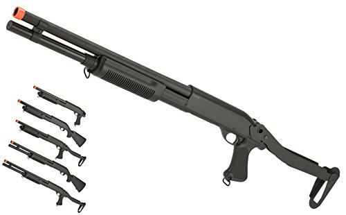 Evike - CYMA Polymer M870 3-Round Burst Multi-Shot Shell Loading Airsoft Shotgun - Folding Stock / Long Barrel - (63538) (Folding Stock For M4)