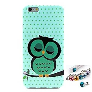 YULIN Hemming Sleeping Owl Pattern TPU Back Cover Case and Dust Plug for iPhone 6 Plus