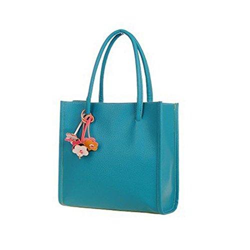 Fashion Handbags,Han Shi Women Girls PU Leather Flowers Candy Color Totes Shoulder Bag (Blue, M)