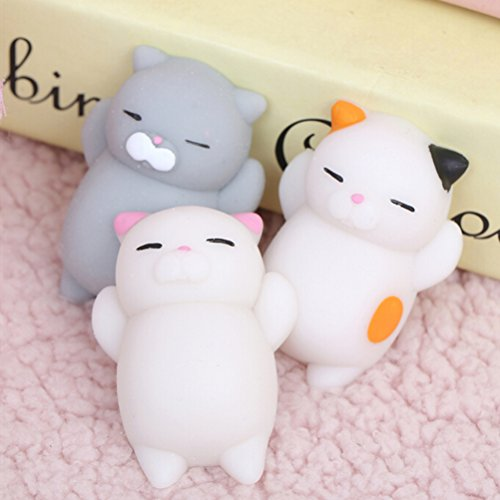 GG MALL 3PCS Kawaii Slow Soft Rising Squishy Squeezen Cute Mini Cat Fidget Toy Stress Reliever Kids Toy Gift