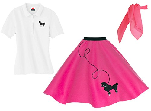 Hip Hop 50s Shop Adult 3 Piece Poodle Skirt Costume Set Hot Pink XXLarge