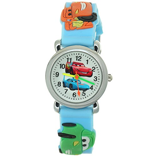 Cars Wristbands (TimerMall Cartoon 3D Strap Round Dial Kids Boys Girls Analog Watches Cars Pattern)