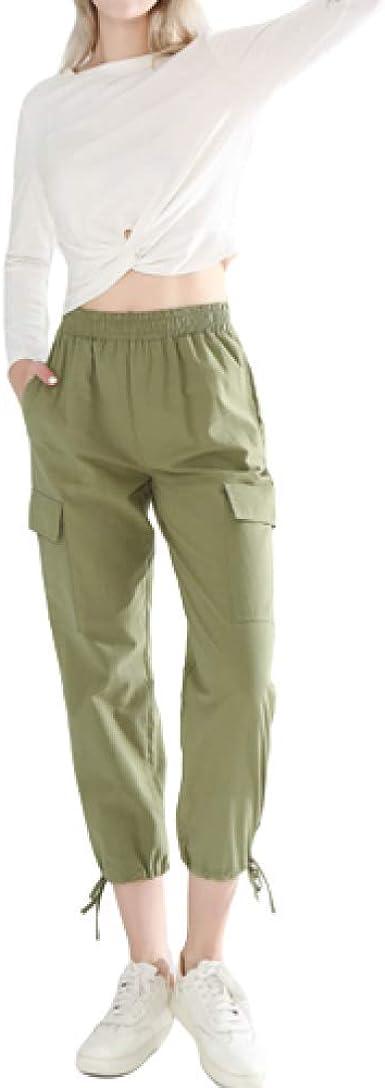 Pantalones De Mujer Europeos Y Americanos Cintura Elastica De Verano Apertura De Tobillo Ajustable Pantalones Casuales De Color Solido Amazon Es Ropa Y Accesorios