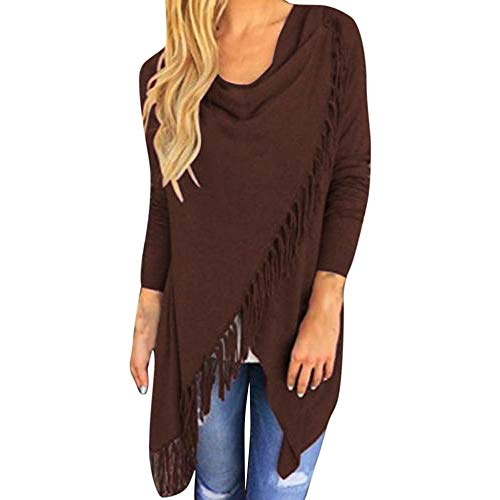 CUCUHAM Women Long Sleeve Tassel Hem Crew Neck Knited Cardigan Blouse Tops Shirt(Z1-Coffee,XX-Large) -