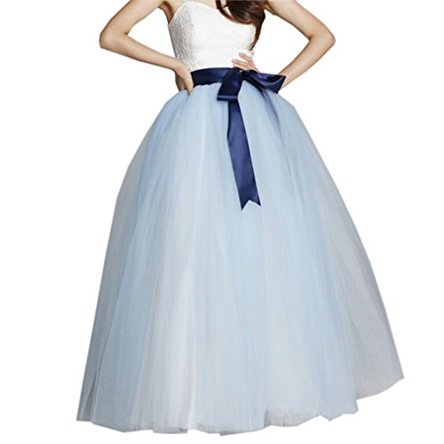 - Lisong Women Floor Length Bowknot Tulle Party Evening Skirt 20W US Blue