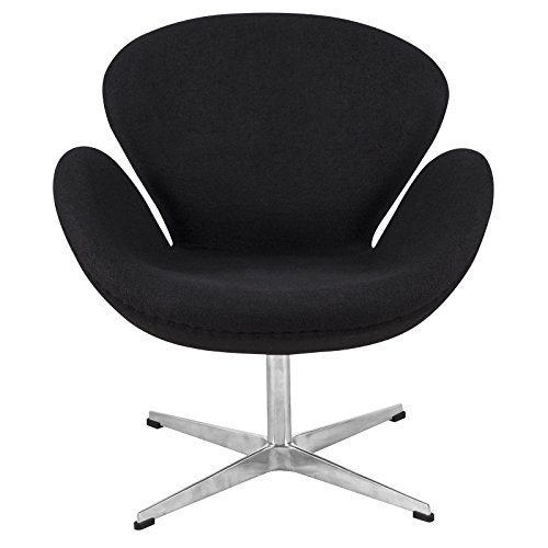 Cheap LeisureMod Arne Jacobsen Style Swan Chair in Black Wool