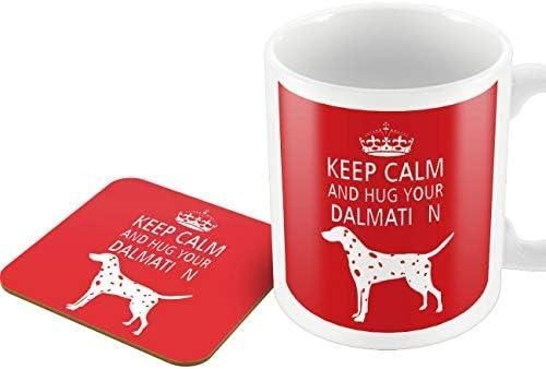 Hug Your Dalmation Victorian Print Designer Hug A Dog Mug and Coaster