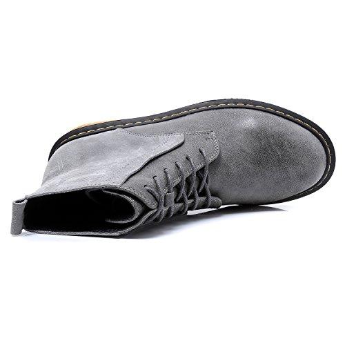 Smilun Bottes Basses Femme Chaussures Derby Classic Suède et PU Lisse en Vogue