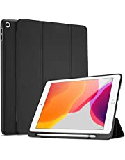ProCase iPad 10.2 8th Gen 2020 / 7th Generation 2019 with Pencil Holder, Flexible Soft TPU Back Cover Ultra Slim Lightweight Stand Protective Case for Apple iPad 8/7 -Black