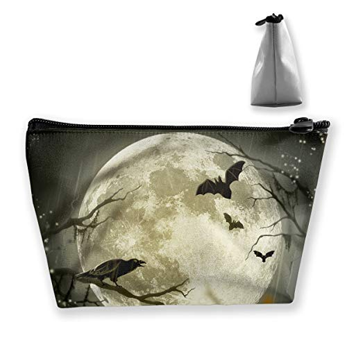 Halloween Moon Illustration Art Cosmetic Tote Bag Carry Case - Large Trapezoidal Storage Pouch - Travel Accessories Portable Make-up Bag ()