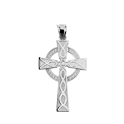 Cross White Gold Celtic Bracelets - 10k White Gold Celtic Cross Charm Necklace Pendant