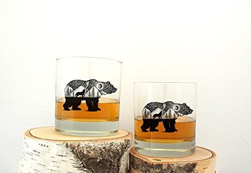 Rock Screen (The Bear and Wolf Rock Glasses - Screen Printed Whiskey Glasses - Set of Two 11oz.)