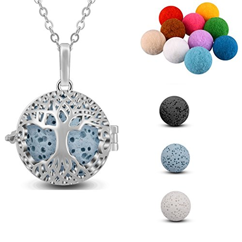 AEONSLOVE Silver Celtic Tree of Life Melody Harmony Ball Chime Bell Pendant Necklaces for Women Gifts (Multicolor) ()