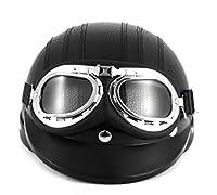 Black Synthetic Leather vintage Motorcycle Motorbike Vespa Open Face Half Motor scooter Helmets & Visor & Goggles