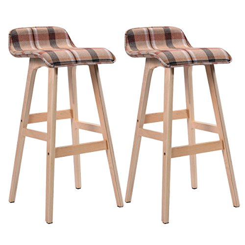 (COSTWAY 29-Inch Vintage Wood Bar Stool Dining Chair Counter Height Kitchen Bar (2, Red))
