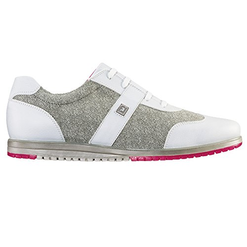 FootJoy Casual Collection Spikeless Golf Shoes CLOSEOUT Women White/Grey Linen Medium 9.5