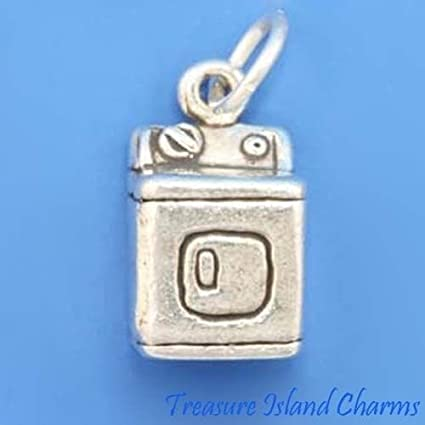 Clothes Dryer Laundry Machine 3D .925 Sterling Silver Charm MADE IN USA
