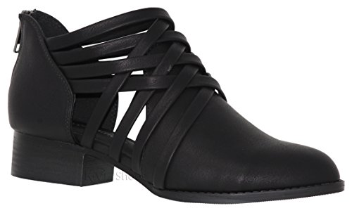 City Classified Women's Ankle Bootie Woven Strappy Weeve Criss Cross Low Chunky Heel Black *K