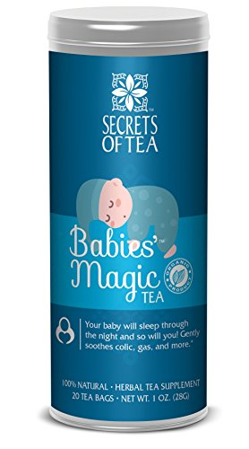 Secrets of Tea Baby Colic Babies' Magic Tea - Organic, Natural, Safe - Calming & Soothing Relief for Baby Acid Reflux, Gas, Colic - Your Baby Will Sleep Thru the Night Guaranteed - 20 Units - Round Natural Bottle