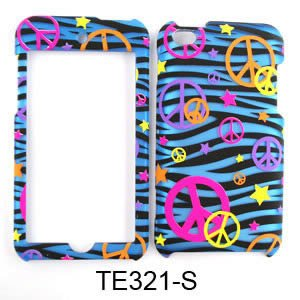 CELL PHONE CASE COVER FOR APPLE IPOD ITOUCH 4 TRANS PEACE SIGNS ON BLUE ZEBRA ()