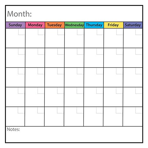 Geyer Instructional Products 161504 Montly Calendar Static Cling Chart