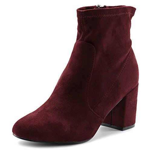 Ollio Women's Shoe Faux Suede Side Zip Up Stacked High Heel Ankle Boots Burgundy