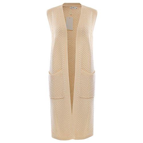Knit Long Vest - Roshes Boutique Womens Pockets Long Sweater Vest Cardigan, Beige, Large