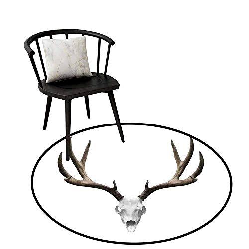 Round Area Rugs Living Room Carpet Antlers Decor,A Deer Skull Skeleton Head Bone Halloween Weathered Hunter Collection,Rug Accent Mat for Livingroom Diningroom Bedroom 32