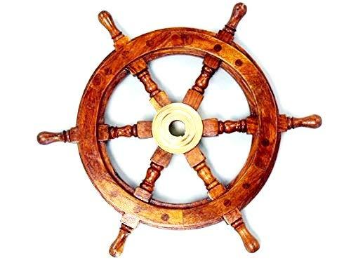 Outdoor Wooden Pirate Ship (NAUTICALMART Sailor's Ship Wheel 12