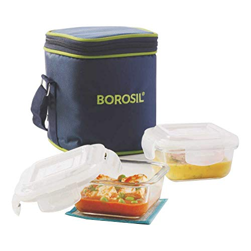 Borosil Glass Lunch Box Set of 2, 320 ml, Vertical, Microwave Safe Office Tiffin Price & Reviews