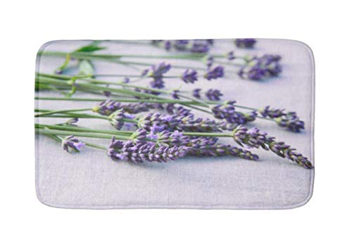 "Yesstd lavender on gray linen cloth french country style Absorbent Super Cozy Bathroom Rug Doormat Welcome Mat Indoor/Outdoor Bath Floor Rug Decor Art Print with Non Slip Backing 24"" L x 16""W Inches."