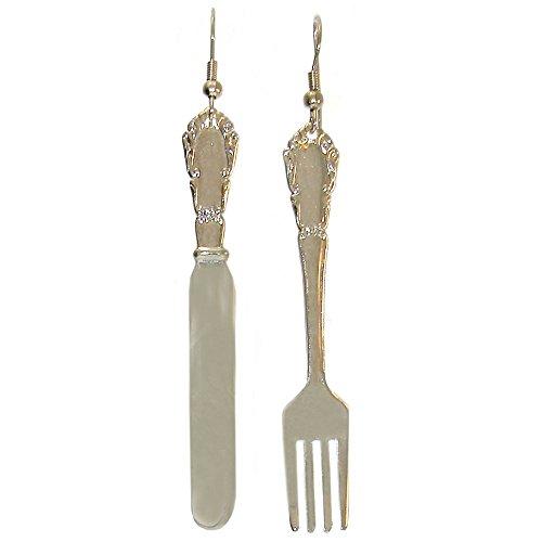 Knife and Fork Earrings, in Silver (Novelty Earrings)