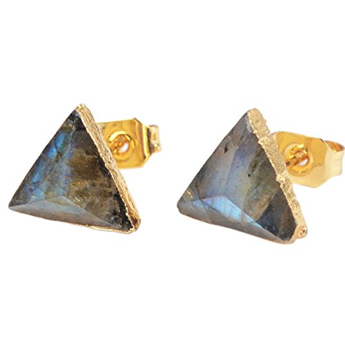 ZENGORI 1 Pair 8mm Triangle Gold Plated Natural Labradorite Stones Faceted Post Stud Earrings (Labradorite Earrings)